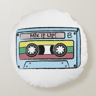Cartoon Hand Drawn Cassette Tape (Mix It Up  Au0026amp;B) Round Pillow