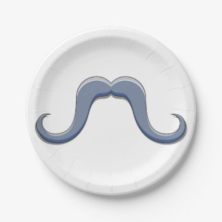 Cartoon Handlebar Mustache Design Paper Plate