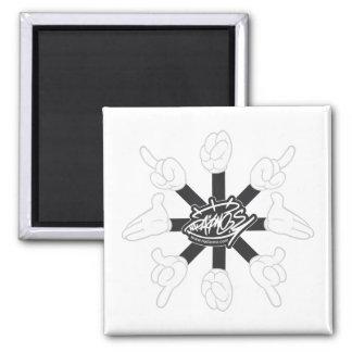 Cartoon Hands Black White Fridge Magnet