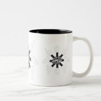 Cartoon Hands (Black&White) Two-Tone Coffee Mug