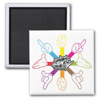 Cartoon Hands (color) Refrigerator Magnet