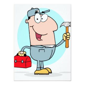 cartoon handyman construction worker character 6.5x8.75 paper invitation card