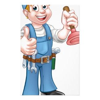 Cartoon Handyman Plumber Holding Plunger Stationery