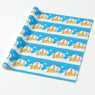 CARTOON HAPPY CASTLE IN THE SKY BACKGROUNDS WRAPPING PAPER