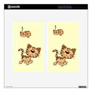 Cartoon Happy Cat Kindle Fire Skin