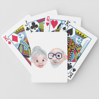 Cartoon Happy Elderly Couple Bicycle Playing Cards