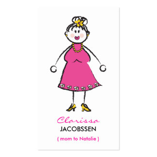 Cartoon Happy Family Cute Fun Mommy Calling Card Business Cards