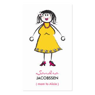 Cartoon Happy Family Cute Fun Mommy Calling Card Business Card Templates