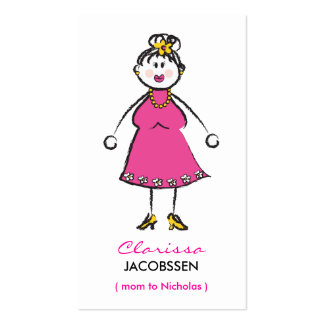 Cartoon Happy Family Cute Fun Mommy Calling Card Business Card Template