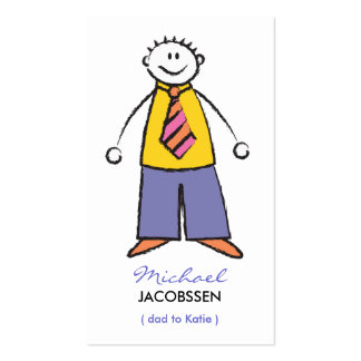 Cartoon Happy Family Dad Calling Contact Card Business Cards