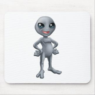 Cartoon happy grey alien mousemat