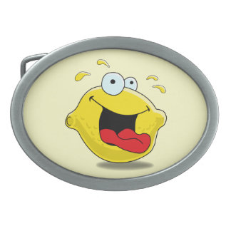 Cartoon Happy Lemon Oval Belt Buckle