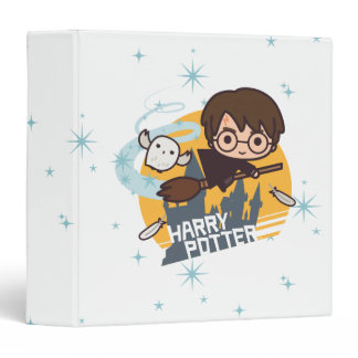 Cartoon Harry and Hedwig Flying Past Hogwarts 3 Ring Binder