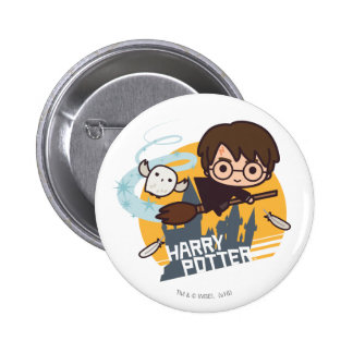 Cartoon Harry and Hedwig Flying Past Hogwarts Button