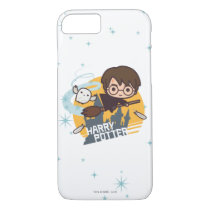 Cartoon Harry and Hedwig Flying Past Hogwarts iPhone 7 Case