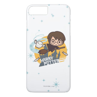 Cartoon Harry and Hedwig Flying Past Hogwarts iPhone 7 Plus Case