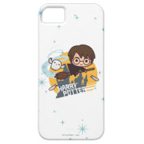 Cartoon Harry and Hedwig Flying Past Hogwarts iPhone SE/5/5s Case