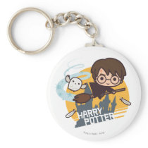 Cartoon Harry and Hedwig Flying Past Hogwarts Keychain