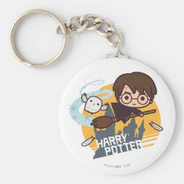 Cartoon Harry and Hedwig Flying Past Hogwarts Keychain