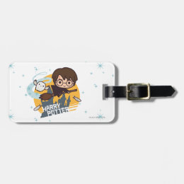 Cartoon Harry and Hedwig Flying Past Hogwarts Luggage Tag