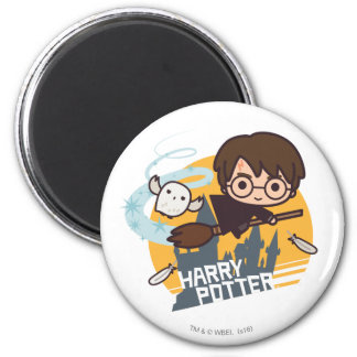 Cartoon Harry and Hedwig Flying Past Hogwarts Magnet
