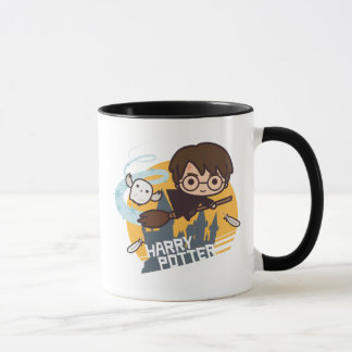 Cartoon Harry and Hedwig Flying Past Hogwarts Mug