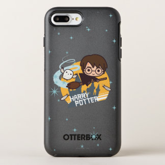 Cartoon Harry and Hedwig Flying Past Hogwarts OtterBox Symmetry iPhone 7 Plus Case