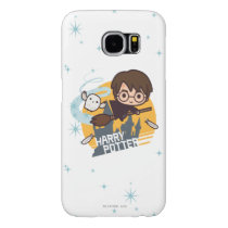 Cartoon Harry and Hedwig Flying Past Hogwarts Samsung Galaxy S6 Case