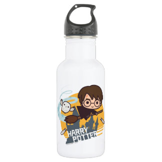 Cartoon Harry and Hedwig Flying Past Hogwarts Stainless Steel Water Bottle