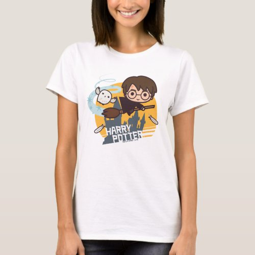 Cartoon Harry and Hedwig Flying Past Hogwarts T_Shirt