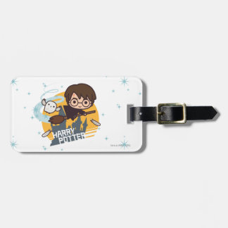 Cartoon Harry and Hedwig Flying Past Hogwarts Tag For Luggage