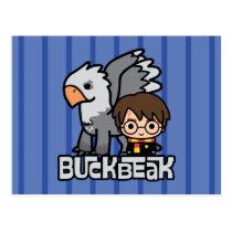 Cartoon Harry Potter and Buckbeak Postcard