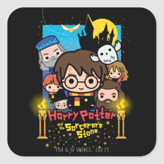 Cartoon Harry Potter and the Sorcerer's Stone Square Sticker