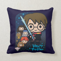 Cartoon Harry Potter Chamber of Secrets Graphic Throw Pillow