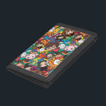 """Cartoon Harry Potter Character Toss Pattern Trifold Wallet<br><div class=""""desc"""">Check out this cute Harry Potter cartoon art of various characters and magical beasts. This pattern features Harry Potter,  Hermione,  Ron,  Neville,  Luna,  Snape,  Sirius,  Hagrid,  Buckbeak,  McGonagall,  Dobby,  Hedwig,  Nagini,  Fawkes,  Thestral,  Cornish Pixies,  a mandrake,  a golden snitch,  and a hatching egg.</div>"""
