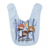 Cartoon Harry, Ron, & Hermione Flying In Woods Baby Bib