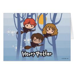 Cartoon Harry, Ron, & Hermione Flying In Woods Card