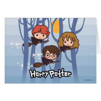 Cartoon Harry, Ron, & Hermione Flying In Woods Card