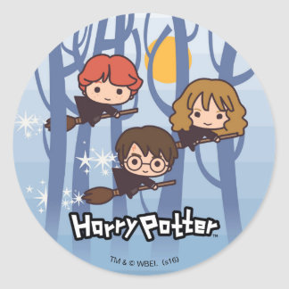 Cartoon Harry, Ron, & Hermione Flying In Woods Classic Round Sticker