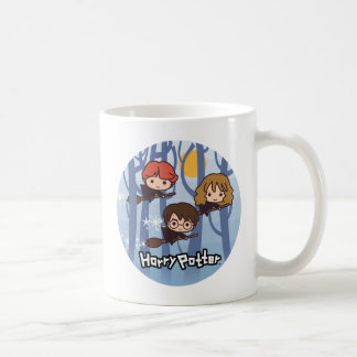 Cartoon Harry, Ron, & Hermione Flying In Woods Coffee Mug