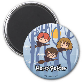 Cartoon Harry, Ron, & Hermione Flying In Woods Magnet