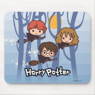 Cartoon Harry, Ron, & Hermione Flying In Woods Mouse Pad