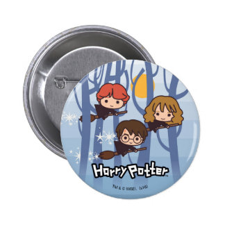 Cartoon Harry, Ron, & Hermione Flying In Woods Pinback Button