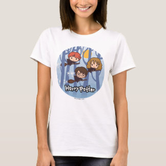 Cartoon Harry, Ron, & Hermione Flying In Woods T-Shirt