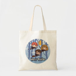 Cartoon Harry, Ron, & Hermione Flying In Woods Tote Bag