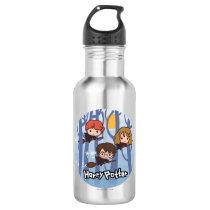 Cartoon Harry, Ron, & Hermione Flying In Woods Water Bottle