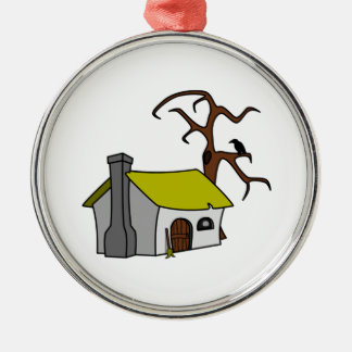 Cartoon Haunted House Round Metal Christmas Ornament