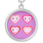 Cartoon Heart Faces Necklace Pink