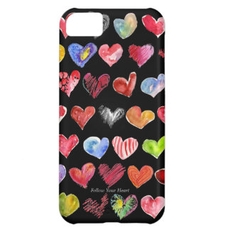 Cartoon Hearts on black iphone 5G/GS ID Credit Car iPhone 5C Cover