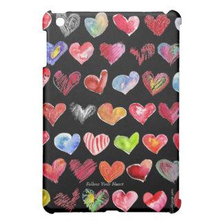 Cartoon Hearts on Black Multicolor Hearts iPad Cas iPad Mini Cover
